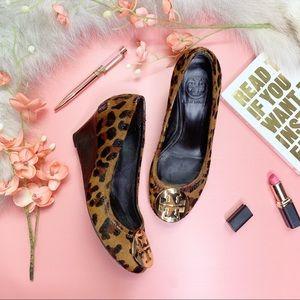 Tori Burch Sophie Leopard cowhide wedge heel